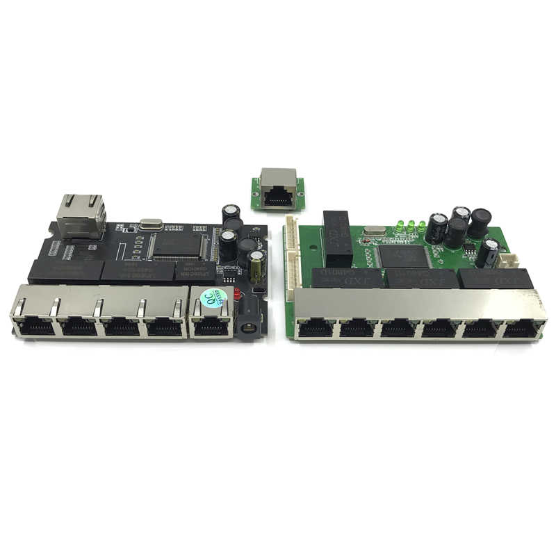 OEM PBC 8 Port Gigabit Ethernet, 8 puertos, a 8 pin pines 10/100/1000 m hub 8way de pin Pcb OEM schroef gat