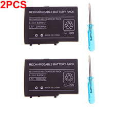 2pcs 2000mAh 3.7V Rechargeable Lithium-ion Battery Pack for Nintendo DS Lite DSL NDS Lite NDSL Replacement Battery + Screwdriver