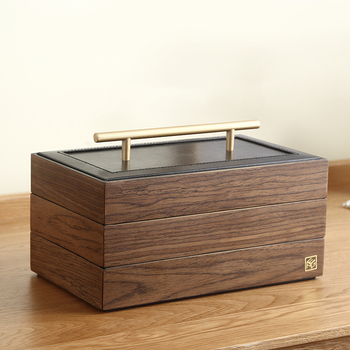 2020 Luxury Large Wooden Jewelry Box Organizer Wood Velvet 3Layers Earring Rings Necklace Storage Case Gift Jewellery Casket