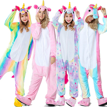 Kigurumi Adults Animal Unicorn Pajamas Set Panda Cartoon Women Men Winter Unisex Flannel stitch unicornio Sleepwear S-XL