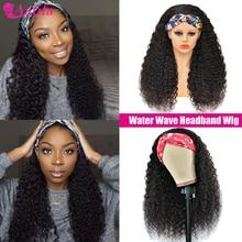 Water Wave pałąk peruka 100% ludzkich włosów peruki brazylijski Remy włosy bez koronki peruka Glueless 180% gęstości 30 Cal dla czarnych kobiet