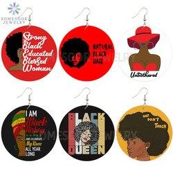 SOMESOOR naturalne czarne włosy błogosławiona pani afrykańskie drewniane kolczyki spadek silne wykształcone królowa Afro przysłowia dynda dla kobiet prezenty