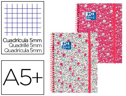 SPIRAL NOTEBOOK OXFORD EBOOK 1 CAP EXTRADURA DIN A5 + 80 SHEETS GRID 5 MM FLORAL 5 Units