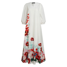 Women Bohemian Floral Print Sundress Celmia 2020 Summer Maxi Dress Kaftan Casual Lantern Sleeve V-neck Long Vestidos Party Robe