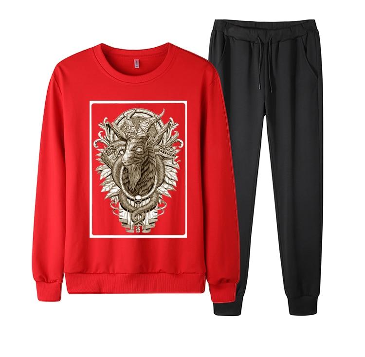 Men Crew Neck Baphomet Print TrackSuit Sport Jacket Fall Spring Suit Set Trousers Pants Jogging Outfits