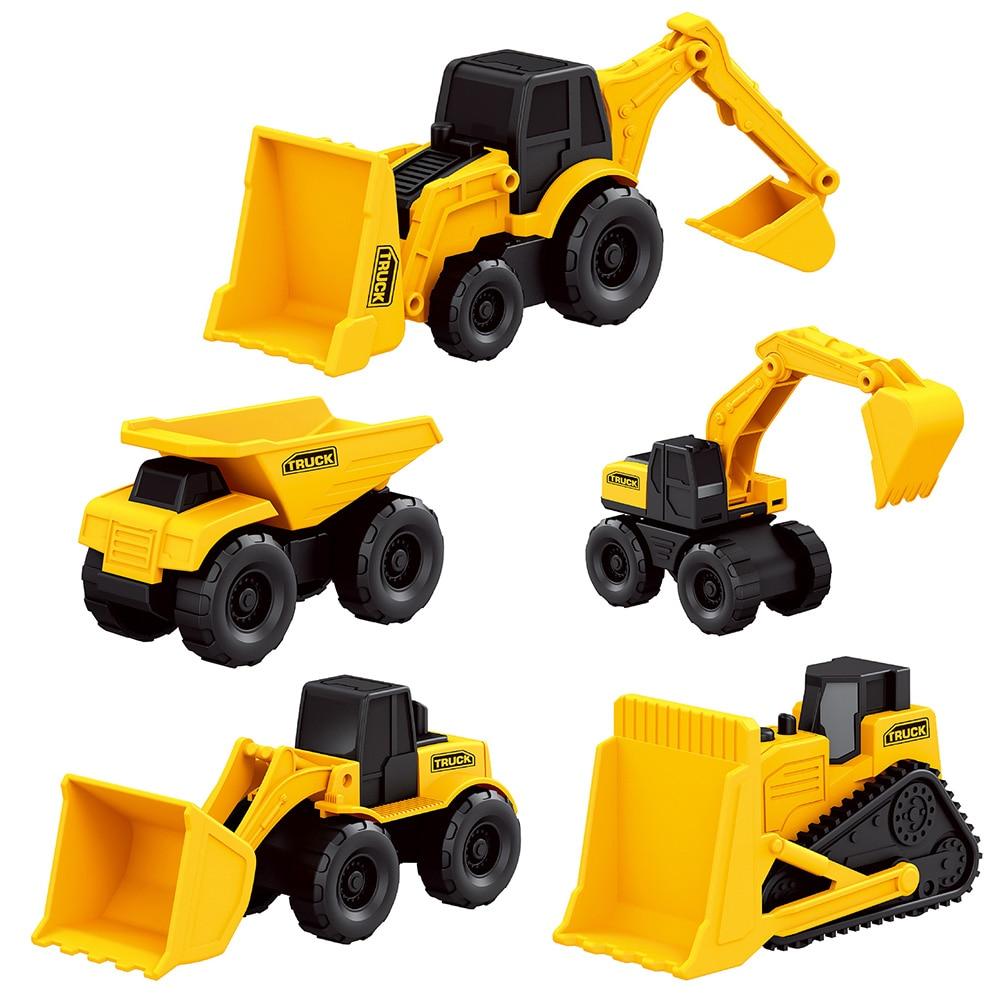 5PCS/Set Dump Toy Mini Machine Simulation Tractor Set Small Kids Bulldozer Construction Vehicle Truck Engineering Excavator Set