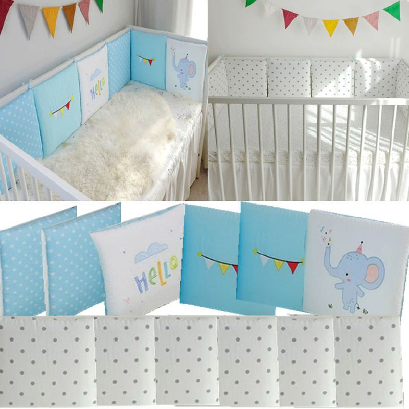 6Pc Toddler Crib Bumper Pads Universal Breathable Cotton Baby Safety Bedding Set