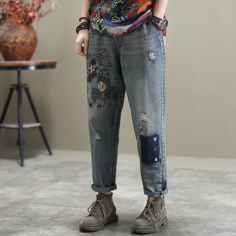 New Arrival 2020 Spring Korea Fashion Women Loose Casual Cotton Denim Harem Pants Vintage Embroidery Jeans Plus Size S598