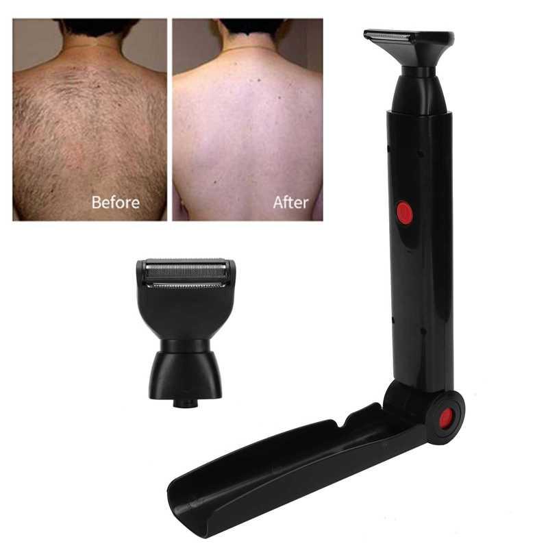Afeitadora eléctrica de pelo para espalda, herramienta de depilación corporal de doble cara plegable por USB, maquinilla de afeitar de seguridad para axila corporal, Bikini