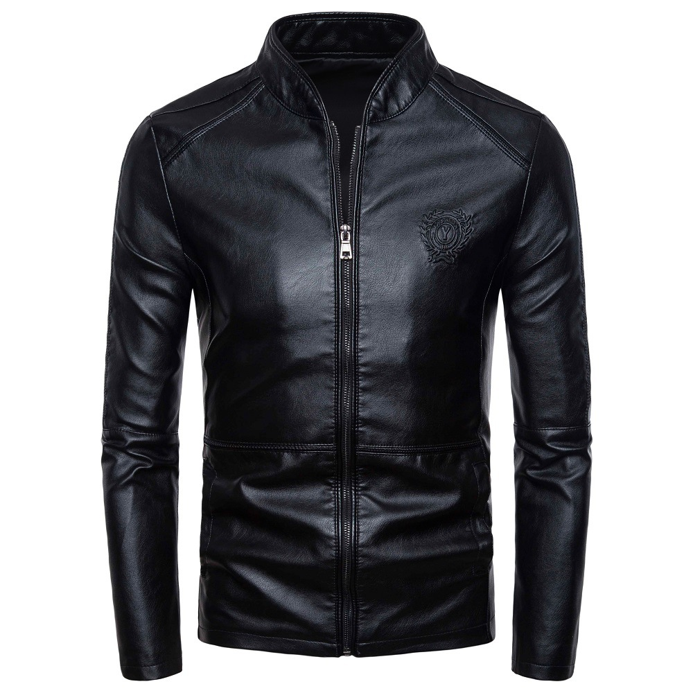 High Quality 2019 Spring And Autumn New Style Men's Korean-style Slim Fit Stand Collar PU Leather Jacket