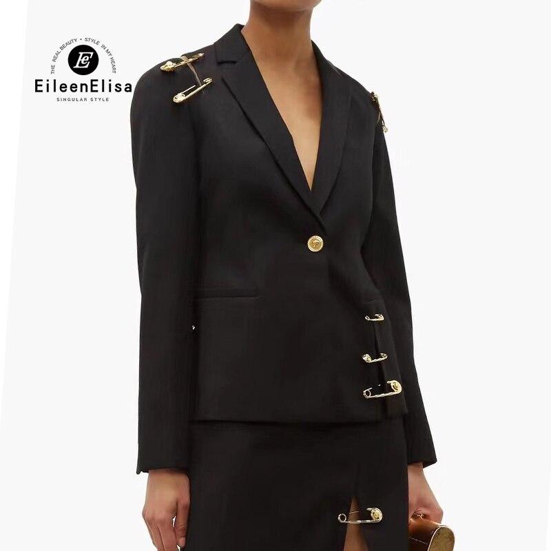 Осенняя куртка для женщин 2019 новый модный, застегивающийся на одну пуговицу пальто Черная куртка с булавкой дизайн