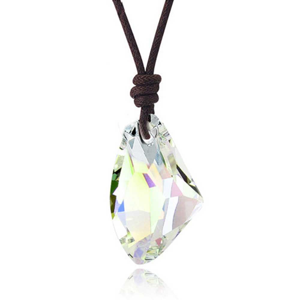 Moda homem feminino cristal artificial fiamond pingente ajustável corda colar jóias colorido mineral cura amostra presente reiki