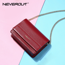 NEVEROUT Soft Genuine Leather Bag for Women Ladies Small Messenger Purse Solid Flap Shoulder Sac Chain Crossbody Mini Handbag