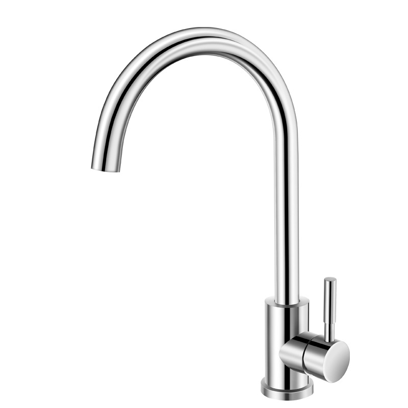 Kitchen Faucet Stainless Steel Single Handle Sink Tap Curved Single Cold Water Tap Crane Bathroom Basin Water Faucet Deck Mount