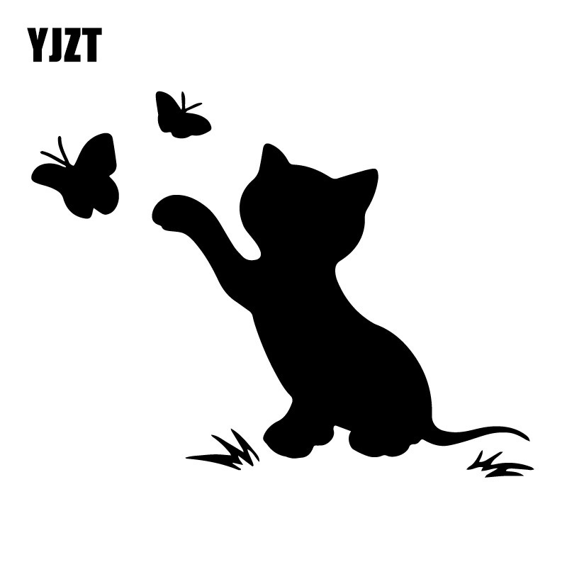 16.8cm*12.9cm Cat Butterfly Fashion Decor Car Sticker Vinyl Decal Black/Silver S3-6153