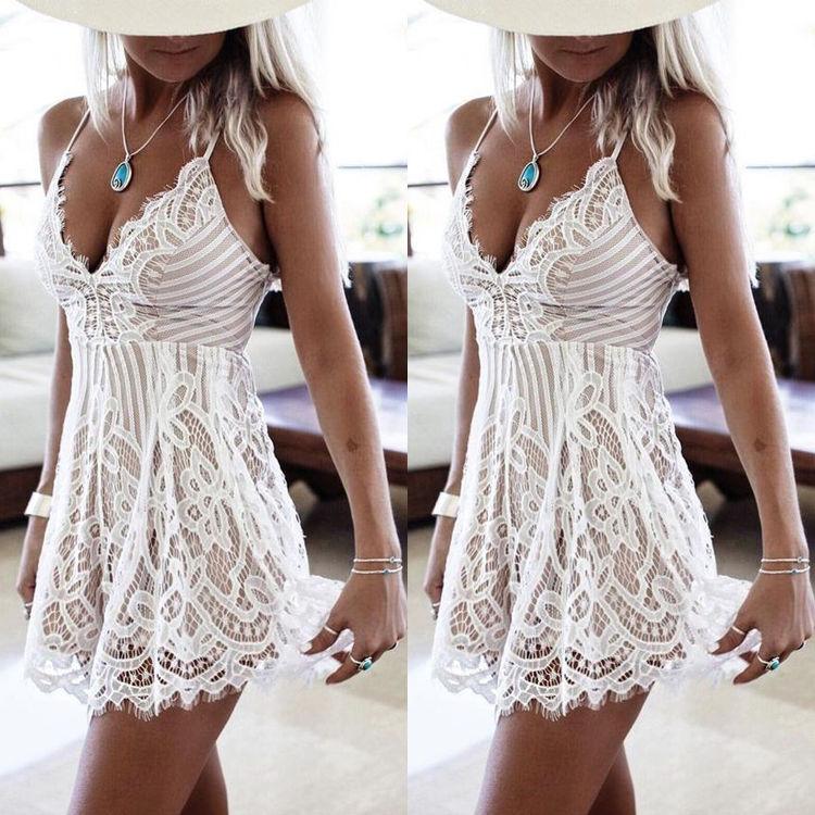 Fashion Bodycon Lace Dress Ladies Elegant Casual Sexy Deep V-Nech Mini White Beach Dresses Womens Plus Size
