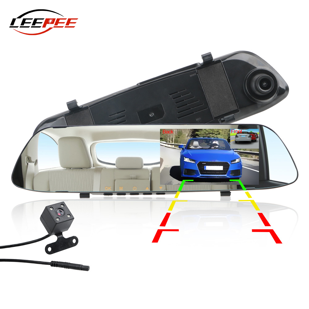 LEEPEE Car Accessories Rearview Mirror Recorder Rear View Camera DVR Dash Cam 5inch IPS HD 1080P Video Dual Channel Len Universal