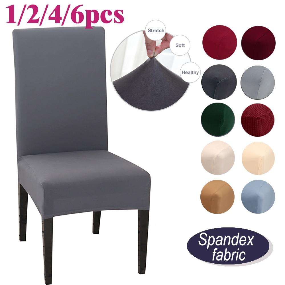 1/2/4/6 adet düz renk sandalye kılıfı yemek sandalyesi streç Spandex otel ziyafet Slipcover koruma kapakları düğün için koltuk yeni