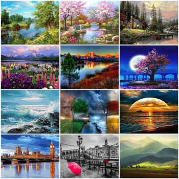 HUACAN Oil Painting By Numbers Landscape Handpainted Home Decoration Picture Digital Canvas - discount item  40% OFF Arts,Crafts & Sewing