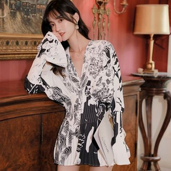 Batwing Bell Sleeve V Neck Blouse Women Long Top Zebra Print Frilly Tunic Tops Designer Fashion 2020 Summer