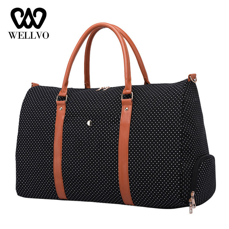 Polka Dots Travel Bags For Women Canvas Fashion Independent Shoes Large Sac A Main Female Duffle Bags Luggage Handbag XA310WB