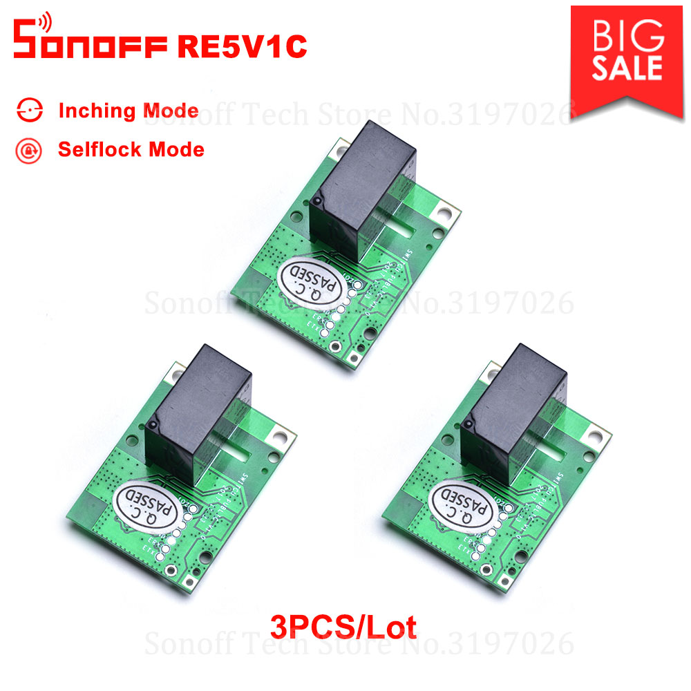 3/5/10PCS  Sonoff RE5V1C 5V DC Dry Contact  Inching/Selflock Module Switch Work via eWelink APP Support Alexa Google Home IFTTTHome Automation Kits   -