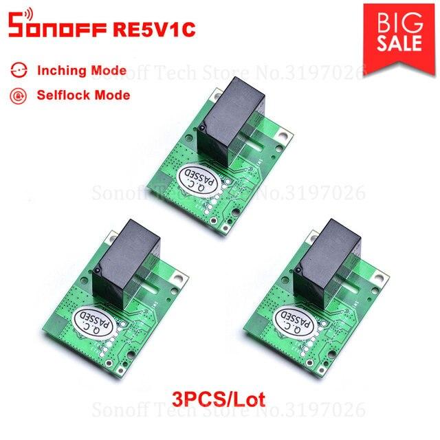 3/5/10PCS  Sonoff RE5V1C 5V DC Dry Contact  Inching/Selflock Module Switch Work via eWelink APP Support Alexa Google Home IFTTT