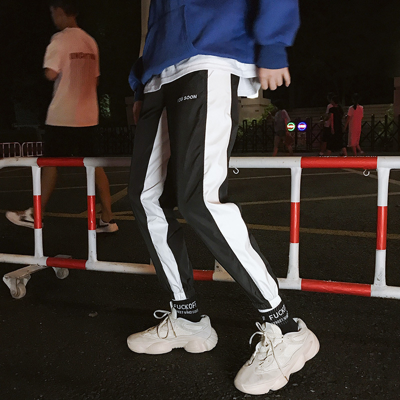 Spring Summer Casual Pants MEN'S Sweatpants INS Trend Korean-style Harem Pants National Trends Athletic Pants Men's Beam Leg Cap