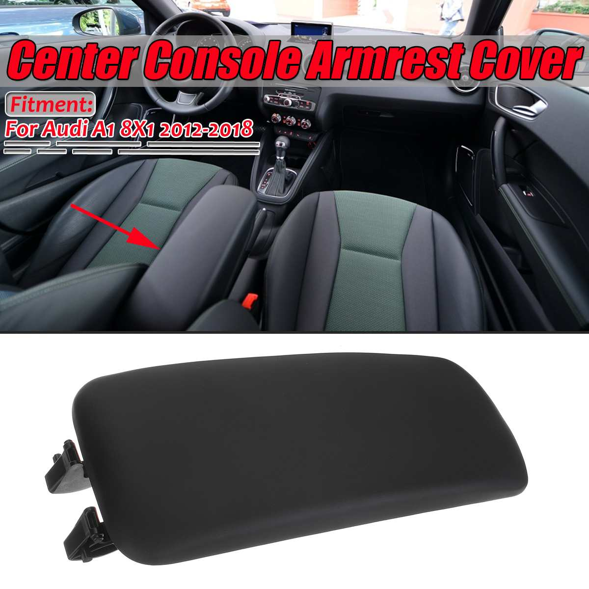 Black A1 Car Center Console Armrest Cover Upper Part Cover Trim For Vehicle Cover Lid For Audi A1 8X1 2012-2018 8X0864245BFH4