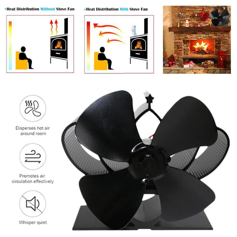 Fireplace Fan 4 Blade Heat Powered Stove Fan Komin Log Wood Burner Eco Friendly Quiet Fan Home Efficient Heat Distribution