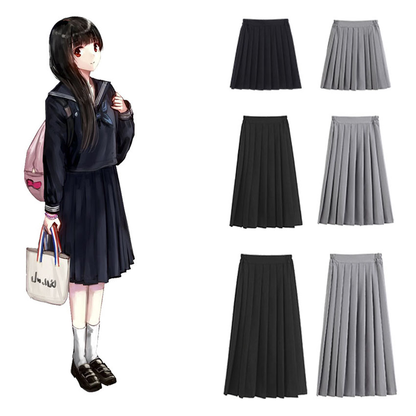 Korean Japanese Version High School Student Skirt Uniform Pleated Tight Waist Black Skirt Collage Women Girls JK Suit Kawaii