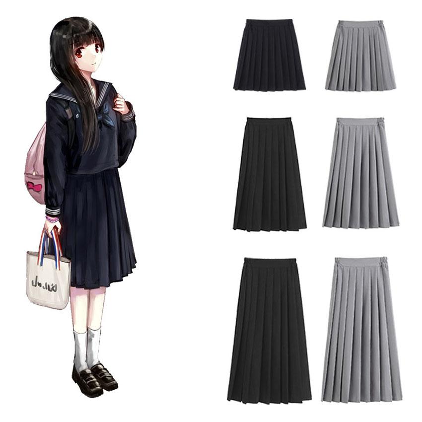 Kore japon sürüm yüksek okul öğrenci etek üniforma pilili sıkı bel siyah etek kolaj kadın kızlar JK takım elbise Kawaii