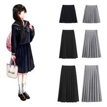 Korean Japanese Version High School Student Skirt Uniform Pleated Tight Waist Black Skirt Collage Women Girls JK Suit Kawaii