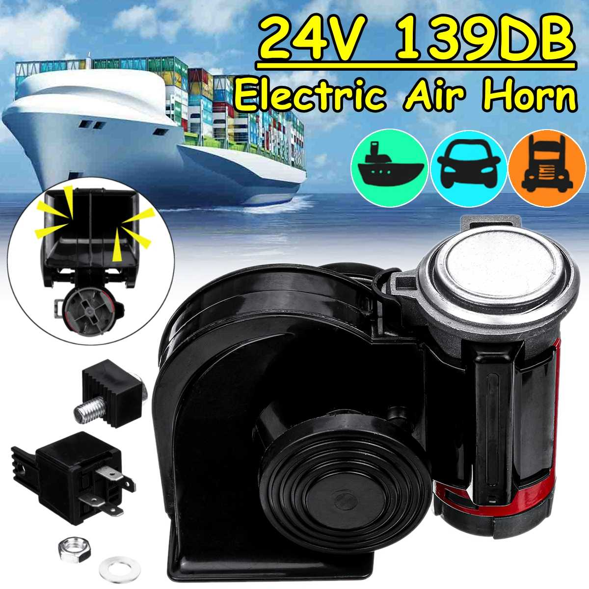 24V <font><b>139dB</b></font> Electric Pump Air Loud <font><b>Horn</b></font> Alarm Compact Dual Tone For Car Truck Motorcycle Pickup Accessories image
