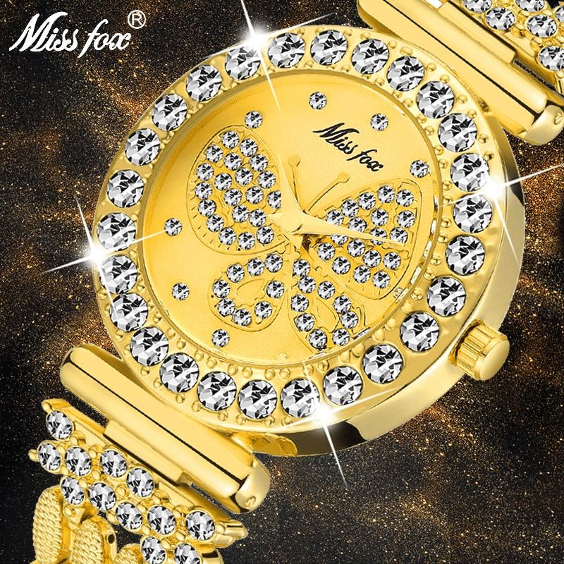 MISSFOX Big Diamond Women Watch Bracelet Butterfly Vintage Stylish Ladies Wristwatch Japan Quartz Movement New 2020 Hot Selling