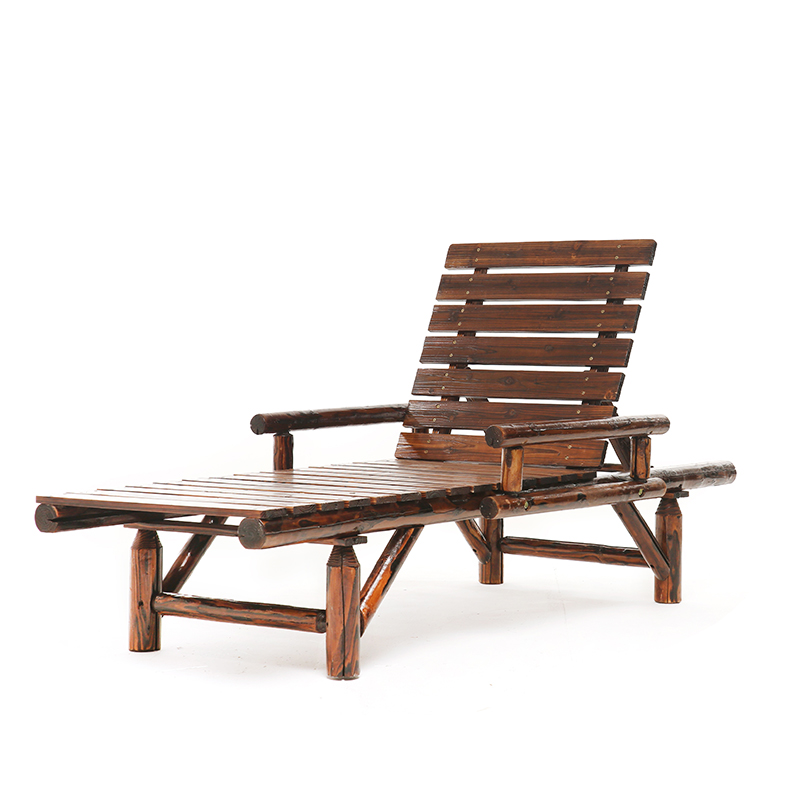 Leisure Lounge Chair Outdoor Solid Wood Beach Chair Anti-corrosion Sunscreen Office Lunch Break Chair Seaside Leisure Chair
