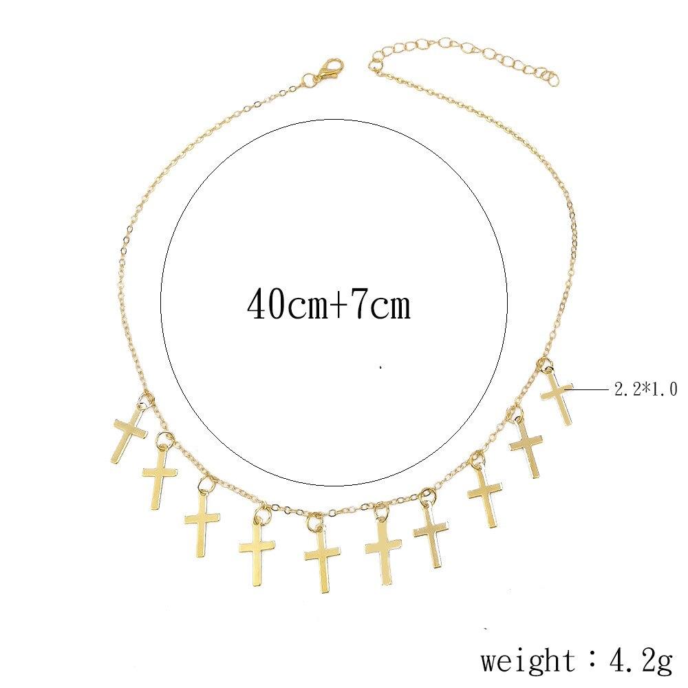 HebeDeer Women Necklaces Jewelry Cross Choker Necklace Chain Lovers Silver Color Classic Trendy Girls Tassel Kpop Collares