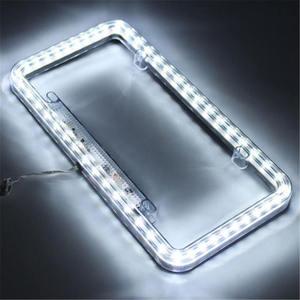 Image 4 - 높은 빛 12 v led 유니버설 화이트 54 라이트 자동차 전면 후면 번호 번호판 프레임 커버