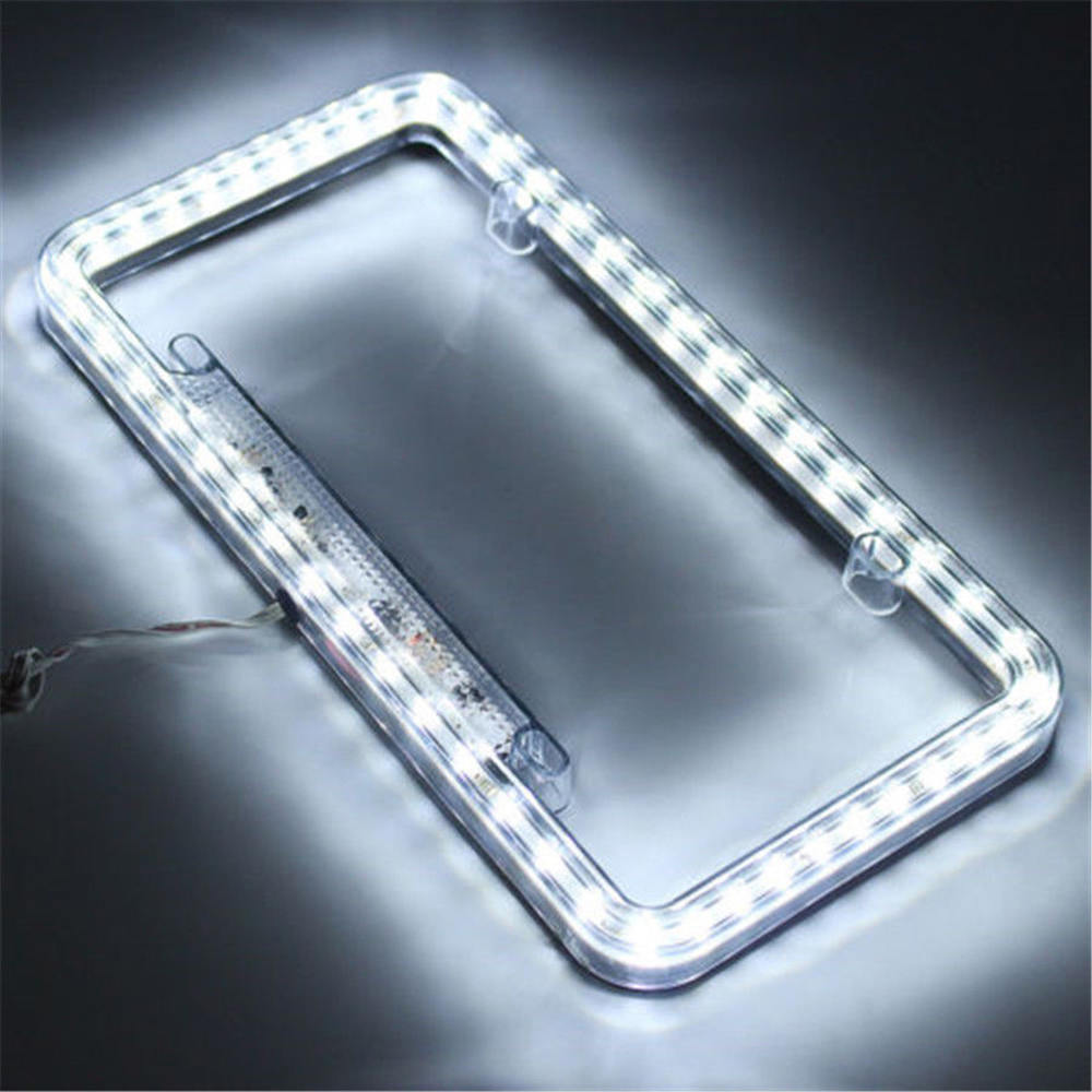Image 4 - High Light 12V LED Universal White 54 Light Car Front Rear Number License Plate Frame Cover-in License Plate from Automobiles & Motorcycles