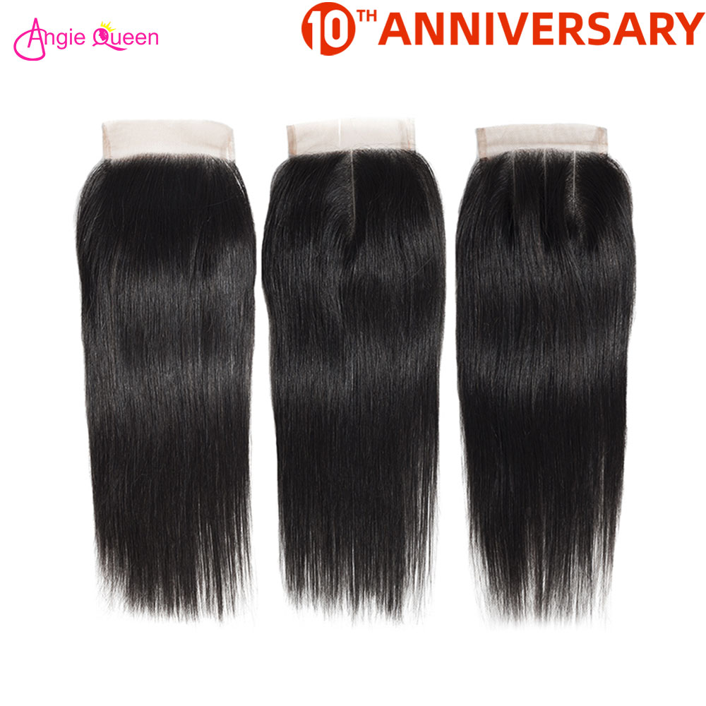 ANGIE QUEEN Brazilian Hair Closure Straight Lace Closure 100% Human Hair Closure Non Remy Hair Lace Closure 150% Free Part 8-20