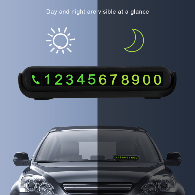 Luminous Telephone Number Card Hidden Number Plate Universal With Fragrance Tank Auto Accessories Car Temporary Parking Card 3