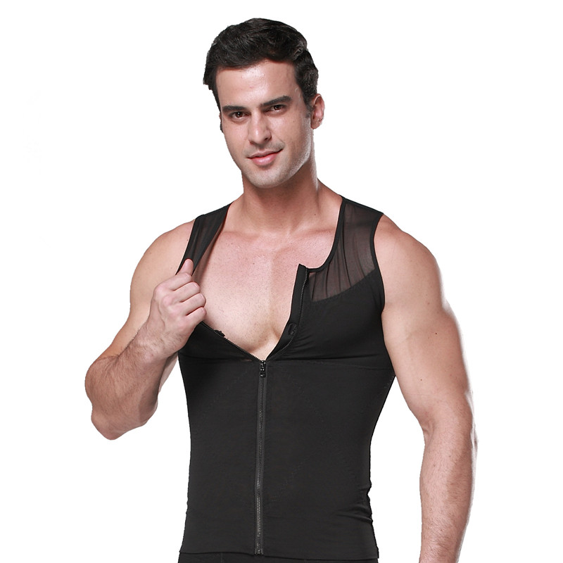 Men Functional Slimming Shapewear Body Sculpting Underwear Male Waist  Abdomen Beer Belly Zipper Tank Tops S-XXL