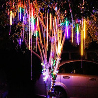 Solar Meteor Shower Rain 10 Tubes Solar Powered LED String Lights Waterproof For Christmas Wedding Holiday Party Decoration