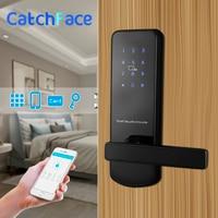 Bluetooth fechadura da porta eletrônica com app wifi inteligente bloqueio de tela toque código seguro digital teclado deadbolt para casa hotel apartamento
