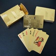 Qualidade 24k ouro jogando cartões de poker à prova dwaterproof água jogo deck folha de ouro poker conjunto plástico magia cartões à prova ddurable água presente durável poker