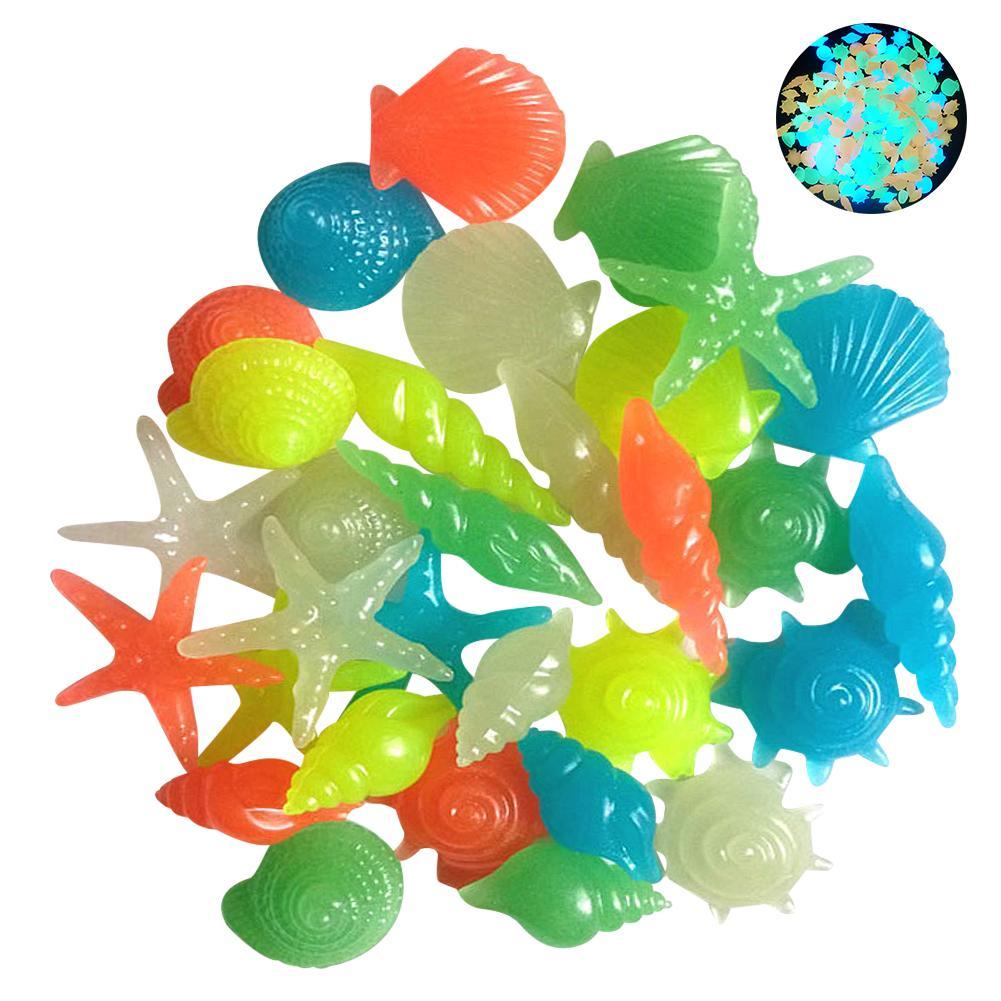 50/100PCs Colorful Luminous Starfish Conch Shell Shaped Glowing Stones Decorative For Garden Aquarium Fish Tank Pool Landscape