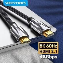 VentionสายHDMI 2.1 4K 8Kสายเคเบิลชาย ชายสำหรับHDMI Switch SplitterทีวีPS3/4สมาร์ทกล่องโปรเจคเตอร์ความเร็วสูงสายHDMI 8K