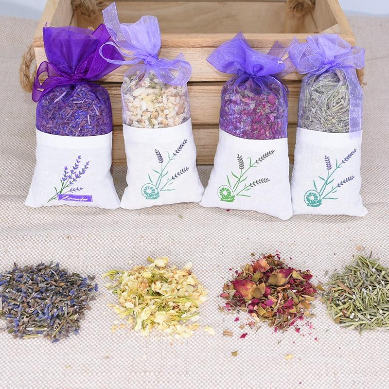 1 Bag Natural Dried Flower Sachet Rose Jasmine Rosemary Lavender Sachets for Home Decor Wardrobe Car Air Freshener Lavender Bags
