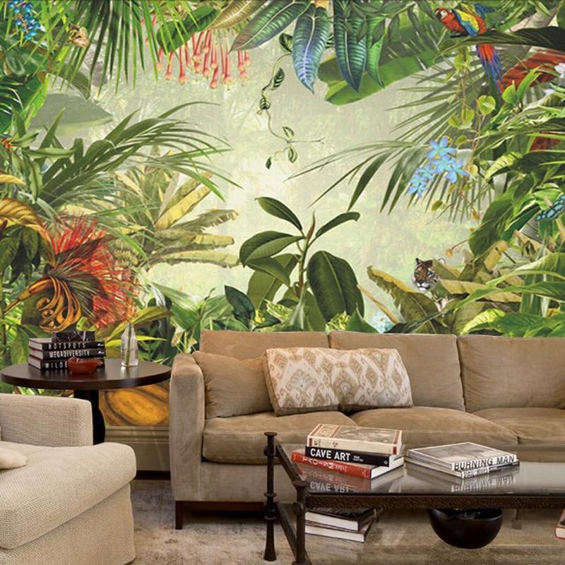 Livraison directe Jungle arbre animaux peintures murales 3D main peinture feuilles tropicales papier peint pour salon TV papier peint dédouanement