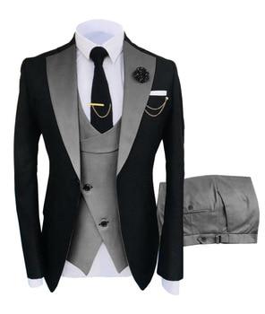New Costume Slim Fit Men Suits Slim Fit Business Suits Groom Black Tuxedos for Formal Wedding Suits Jacket Pant Vest 3 Pieces 10